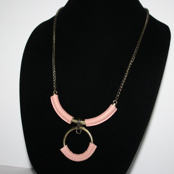 Pink and bronze Boho style necklace 24""